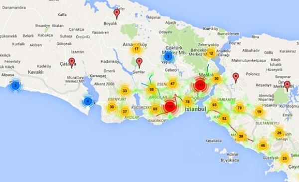 İstanbul' da Trafik Kazalarının En Yoğun Olduğu Bölgeler